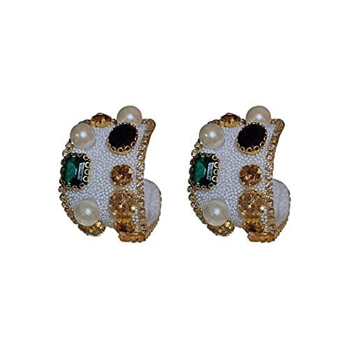 FDSH Pendientes de Diamante de Color de la Perla de la Aguja de Plata Aretes de Lujo Retro Europeo y Americano Pendientes Premium de Lujo (Color : A)