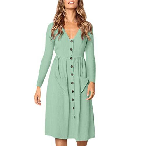 SHOBDW Herbst Damen Solid V-Ausschnitt Knopf Kleid Langarm Tasche Lässige Strand Lange Maxikleid Herbstkleid Rock Lang Tops Bluse Shirts