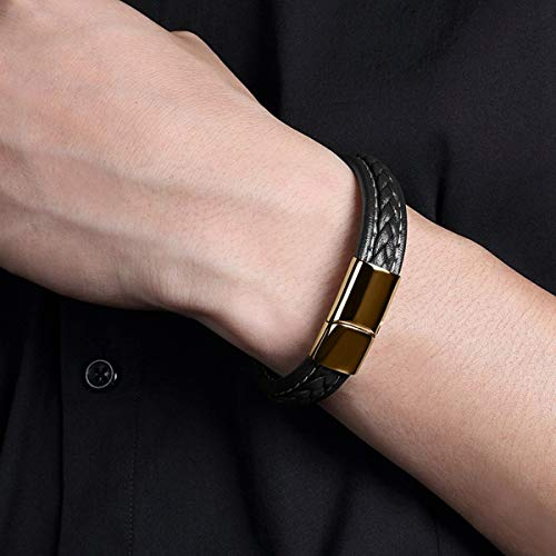 Men's Brown Braided Leather Bracelet Stainless Steel Magnetic Buckle Wrist Strap Bangle (Size:8.0inch/205mm))