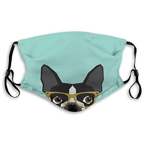 Bandana de moda a prueba de sol para hombres y mujeres-Darby, diseño de mascota Boston Terrier con gafas hipster en colores atrevidos y modernos para amantes de las mascotas
