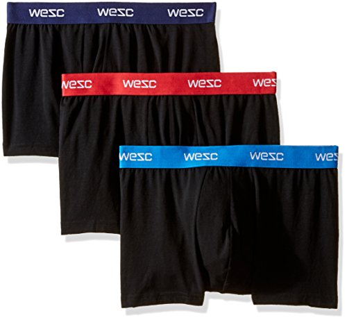 WeSC Men's 3-Pack Knit Boxer Brief, Black, Small