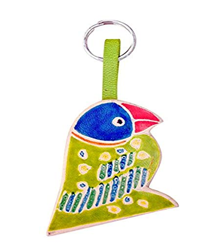 Sitara Collections SC5515 Cruelty-Free Leather Keychain, Green Parrott