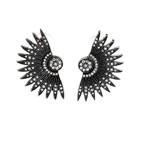 Allshiny Earrings Retro luxurious Scalloped earring Diamond Wing shape Ms Tourism memorial birthday