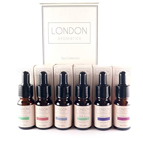 Spa Getaway Collection of Essential Oils Six 10ml Glass Pipette Dropper Bottles 100% Pure Bergamot, Chamomile, Clary Sage, Jasmine, Lavender & Ylang Ylang.
