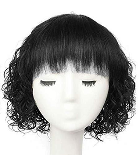 Topjin Middle Aged Lady 25,4 cm Naturel respirant court bouclés Cheveux humains Perruques Femme Cheveux