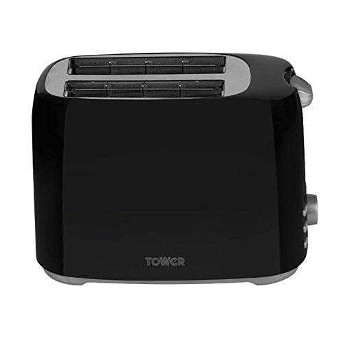 Tower Elements 2-Slice Toaster with Variable Browning Control, Defrost, Reheat and Cancel Settings, Removable Crumb Tray, 750 W, Black