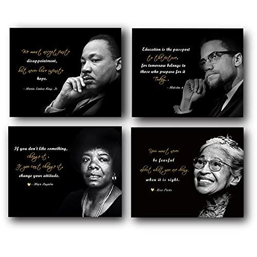 Motivational Wall Art(Set of 4 Powerful Black History Un framed Art...