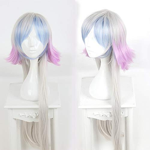 Fate/Grand Order Merlin Cosplay Wig 100 Cm Long Straight Silver Blue Purple Gradient Synthetic Hair Wig For Halloween Party One Size Merlin