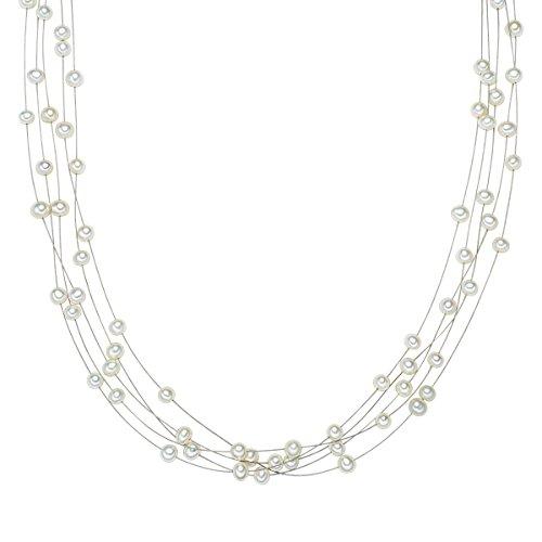Valero Pearls Damen-Kette Hochwertige Süßwasser-Zuchtperlen in ca. 4 mm Oval weiß 925 Sterling Silber 43 cm - Perlenkette mit echten Perlen mehrreihig 400310