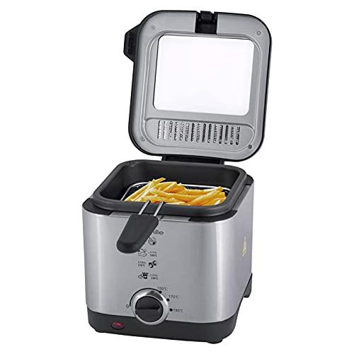1,5L Fritteuse Elektro Fritöse Frittierkorb Friteuse Pommes Kaltzonenfritteuse Anti-Geruchsfilter Spritzschutz Edelstahl Mini Fritteuse 900W Temperaturkontrolle