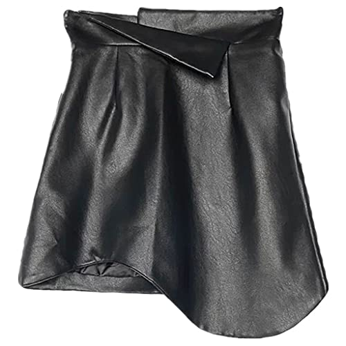 DIAOD Mini falda de cuero irregular de moda para mujer, paquete de cintura alta, falda de una línea a la cadera, talla grande (Color : Black, Size : XXL code)