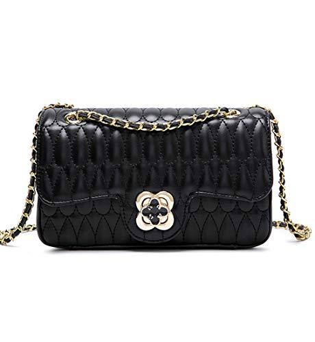 YXBQueen Bolso de cuero acolchado de diseñador Crossbody bolsos mujer bolsos y bolsos, negro (Negro), Medium