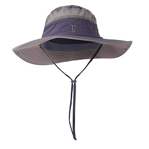 Sombrero Pescador Gorras Sombreros De Cubo Impermeables Para Hombres Y Mujeres, Sombrero Para El Sol Al Aire Libre, Gorras De Pesca De Ala Ancha Y Larga, Sombrero De Playa Bordado, Gris Oscuro