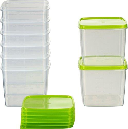 MiraHome Frischhaltedose Gefrierbehälter 0,75l quadratisch 11x11x9,5 cm 8er Set grün Austrian Quality