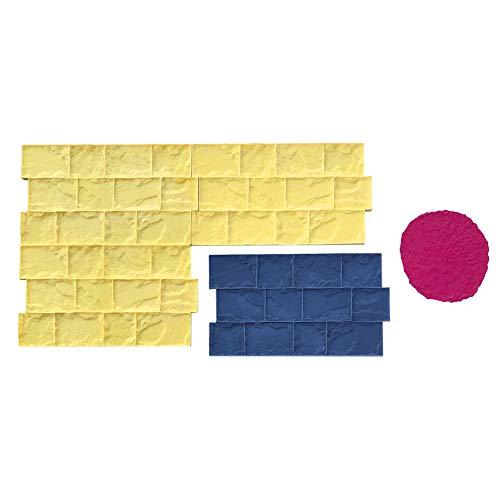 Roman Cobble Concrete Stamp Set by Walttools | Classic Decorative Cobblestone Pattern, Sturdy Polyurethane Texturing Mats, Realistic Detail (5 Piece)