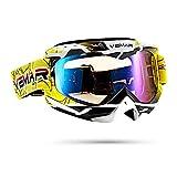 Galatée Serie de rayas colores deportivos moda Motocross Vidrios Prueba Viento UV Goggle para Esquí,Patinaje,Escalada,Camping,Carreras,Gafas para el Polvo,Resistentes al Viento(Amarillo+rayas)