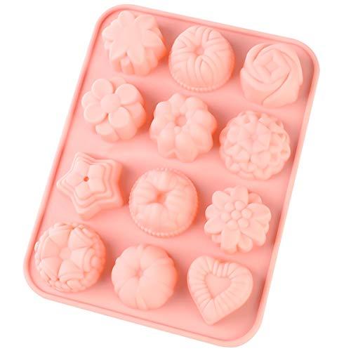 12 Hohlräumen Silikonform, 3D Silikon Blumen Backform Lebensmittelqualität Kuchenform Backform mit Blumen Herz Obst Star Form Antihaft Silikonform für Schokolade Süßigkeiten Gelee Eiswürfel Muffin