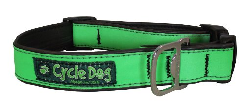 Cycle Dog Bottle Opener Recycled Dog Collar, Green Max Reflective, Medium