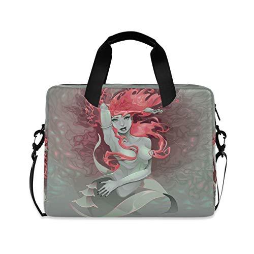 Laptop Bag Briefcase Shoulder Bag,Meerjungfrau Mädchen Aktentasche Messenger Notebook Bag Computer Tasche Shoulder Bag Mit Schultergurt Griff,29×40 CM/15.6 Zoll