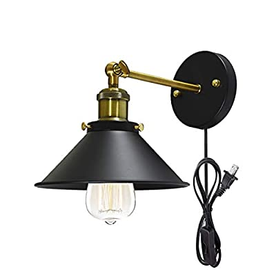 STGLIGHTING Metal Wall Sconce 1 Light Fixture E26 UL Certification Plug-in Button Switch Cord Lighting Vintage Industrial Loft Style Wall Lamp for Bathroom Dining Room Kitchen Bedroom Bulbs Included