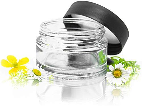 10er Set edle Glastiegel 50ml leer Cremedose aus Klarglas Kosmetikdosen klein mit matt-schwarzem Deckel inkl. Etiketten und Spatel