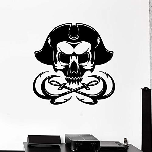 wZUN Schädel Knochen Aufkleber Seemann Kapitän Skelett Marine Themenbar Vinyl Aufkleber 57X57cm