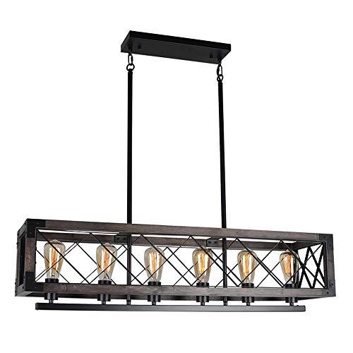 Baiwaiz Farmhouse Rectangle Dining Room Billiard Chandelier Lighting, Black Metal and Wood Long Rustic Kitchen Island Light Fixture Industrial Linear Cage Pendant Light 6 Lights Edison E26 121E
