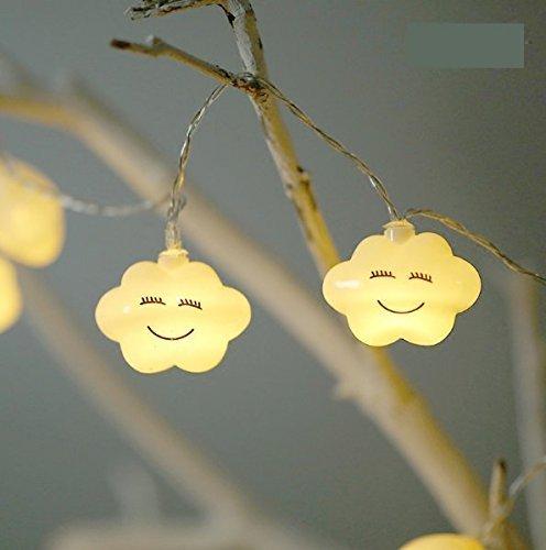 UChic 1.5 m 10LED batería operación LED Smiley cara nube luces noche lindo led hadas cadena lámparas para bebé dormitorio fiesta decoración luz blanca cálida