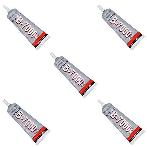 MMOBIEL 5x B-7000 110ml Pegamento/adhesivo industrial multifuncional de alto desempeño semi fluido y transparente Incl. Puntas de precision para un trabajo limpio