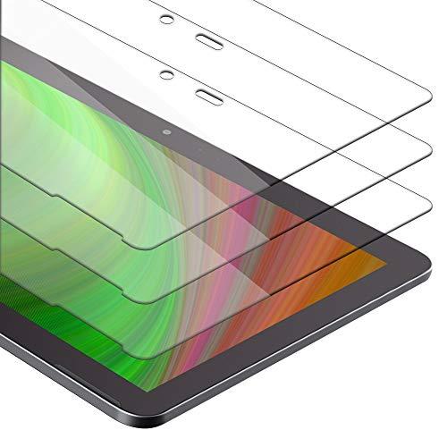 Cadorabo Película de Armadura 3X Compatible con BQ Aquaris M10 (10.1') - película Protectora en Transparencia ELEVADA Paquete de Vidrio Templado en dureza 9H con compatibilidad táctil 3D