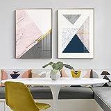 Lienzos de pintura, carteles e impresiones, geometría abstracta, combinación de cuadros de pared para sala de estar, decoración moderna para dormitorio, (60 x 80 cm), 2 piezas sin marco