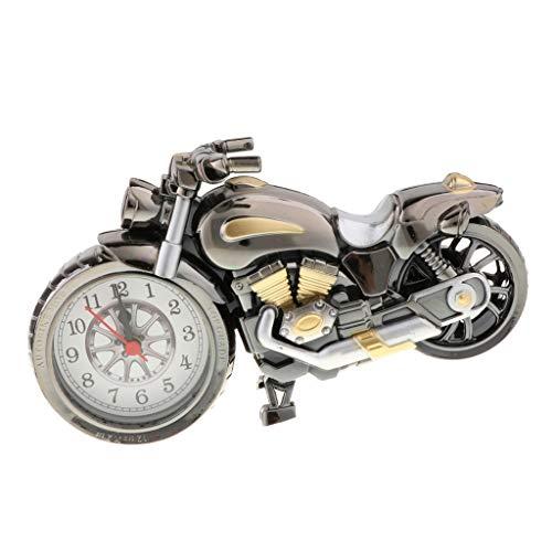 ホーム ルーム装飾 テーブル装飾 バイクの形 置き時計 時計おもちゃ レトロオートバイ模型 シルバーB