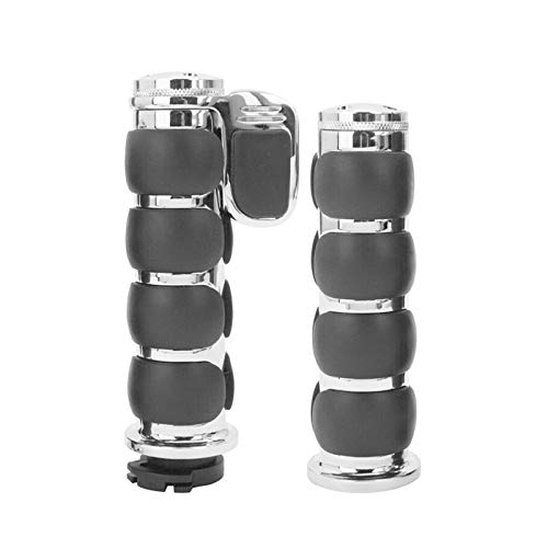 Hsanzeo Motorcycle Grips 1 INCH Motor Handlebar Hand Grips Throttle Fit For Harley Sportster Dyna Touring XL883 1200 Hugger Road King Electra Glide Tour Glide FLSTF Fat Boy