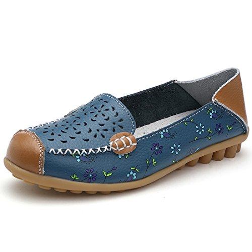 Z.SUO Mujer Mocasines Cuero Moda Loafers Casual Zapatos