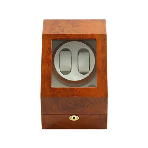 GLXLSBZ Caja enrolladora de Relojes 2 + 3,2 Relojes Batería Axis Silent Madera Relojes enrolladores Caja expositora Caja de Almacenamiento Marrón