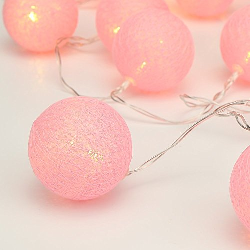 ELINKUME String Light LED, 20LEDs Beautiful Pink Cotton Ball, Warm White Lighting 3.3M Fairy Lights, Battery Powered Ideal Decoration for Party/Wedding/Holiday