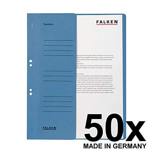 Original Falken 50er Pack Ösenhefter. Made in Germany. Aus Recycling-Karton mit halbem Vorderdeckel und kaufmännischer Heftung für DIN A4 blau Hefter Sammelmappe Blauer Engel