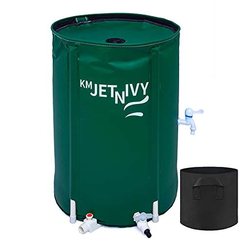 KMJETNIVY Rain Barrel Collapsible Rainwater Collection System,Portable Water Storage Tank,Garden Water Catcher w/ Four Spigots and a 3 Gallon Plant Bag