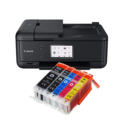 Canon Pixma TR8550 TR-8550 Farbtintenstrahl-Multifunktionsgerät (Drucker, Scanner, Kopierer, Fax, USB, WLAN, LAN, Apple AirPrint) Schwarz + 5er Set IC-Office XXL Tintenpatronen 580XXL 581XXL