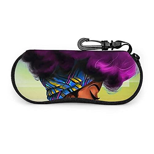 AOOEDM Fundas de almohada africanas Decorativas Mujeres africanas Gafas de sol americanas Estuche blando Estuche de gafas con cremallera de neopreno ultraligero con clip para cinturón
