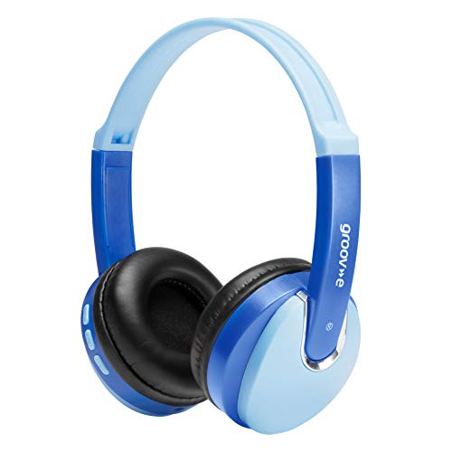 Groov-e Bluetooth DJ Style Wireless On-Ear Headphones for Kids with 7.5 Hours Playback, Soft Earpads, Hands-Free Mic and Audio-Sharing Port - Blue