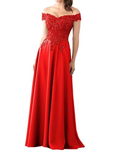HUINI Abendkleider Lang Chiffon Ballkleid Brautjungfernkleider Spitze Brautkleider Vintage Hochzeit Partykleider Rot 38