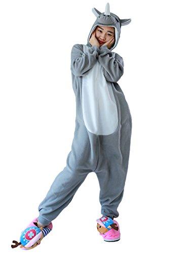 Hstyle Unisex Adulto Onesie Anime Kigurumi Trajes Disfraz Cosplay Animales Pijamas Pyjamas Ropa De Dormir Rinoceronte Gris M