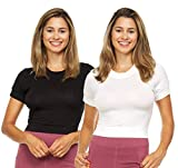 2 Pieces Crop Top Tshirts for Women Open Back Cropped Tees Gym Workout Shirts