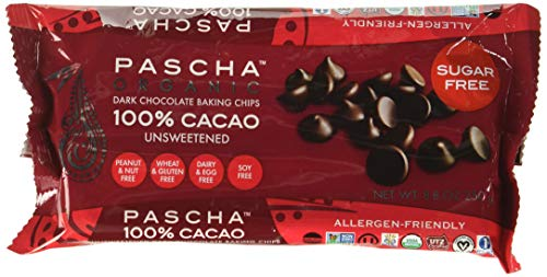 Pascha, Organic Chocolate Chips 100% Cacao Unsweetened, 8.8 Ounce