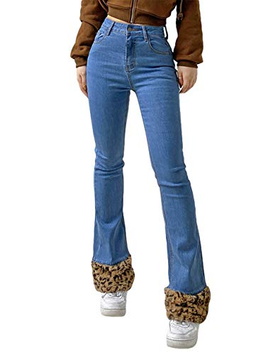 Pantalones Vaqueros Acampanados de Cintura Alta para Mujer, Cintura con Botones, Pantalones de Mezclilla de Pierna Ancha, Pantalones Largos (Blue, S)