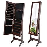 ZenStyle Mirror Jewelry Cabinet Armoire, Full Length Mirror Dressing Lockable Jewelry Cabinet with 2 Drawers, 4 Angles Adjustable, Brown