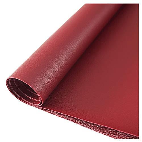 wangk CueroDeImitaciónTelaCueroSintéticoVentaDePolipielporMedioMetrosViniloPañoDeCueroMaterialDeTela138cmDeAncho-Rojo Oscuro 1.38x6m