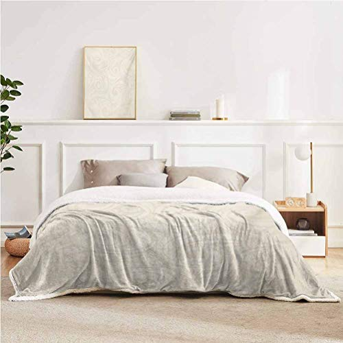 """YUAZHOQI Ivory Throw Blanket for Couch Bed Victorian Curved Renaissance Style Leaves Branches Artistic Classic Petals Illustration Throw for Girlfriend Best Friend 50"""" x 60"""" Cream"""