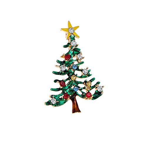 Rexinte Christmas Tree Brooch Pins for Women, Multi-Colored Rhinestone Crystal Christmas Decorations Ornaments Gifts for Girls